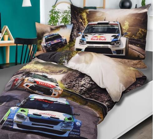 Obrazová posteľná súprava s motívom AUTO RALLY